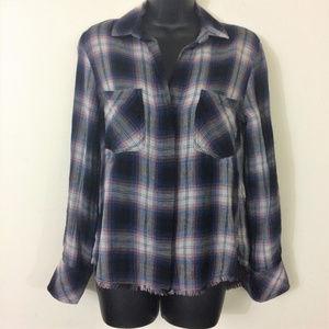 Cloth & Stone Plaid Frayed Hem Split Back Shirt